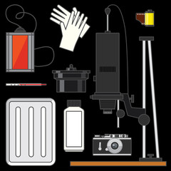 Set of equipment required for photo developing in retro style.