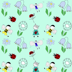 summer pattern with children, flowers and beetles