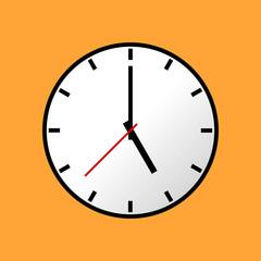 Clock icon, Vector illustration, flat design. Easy to use and edit. EPS10. Orange background.