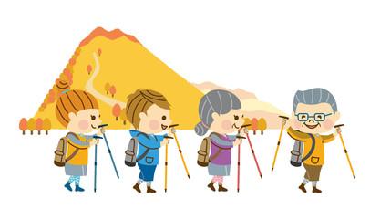 ハイキングする家族 その2