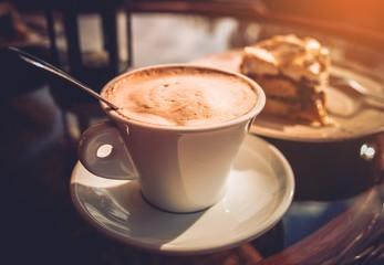 Fototapeta Cappuccino Coffee and Cake obraz