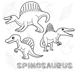 Dinosaur Spinosaurus Cartoon Vector Illustration Monochrome