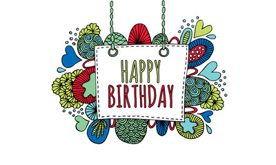 Happy Birthday Hand Drawn Doodle Vector Bright Colours