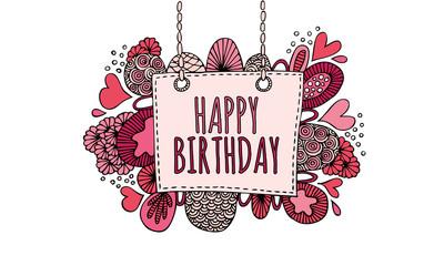 Happy Birthday Hand Drawn Doodle Vector Pink