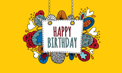 Happy Birthday Hand Drawn Doodle Vector Yellow Background