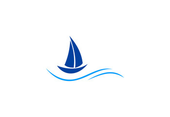 sailing boat ocean logo.