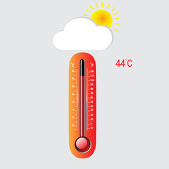 Hot thermometer on a gray background