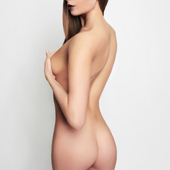 naked body girl covers her breast