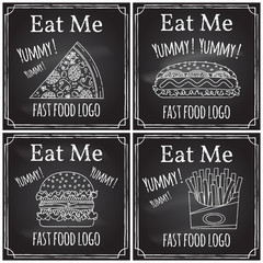 Eat me. Elements on the theme of the restaurant business.  Chalk drawing on a blackboard. Logo, branding,  logotype,  badge  with a  burger, hot dog,  fries and pizza.