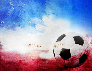 Football on France's flag colored background