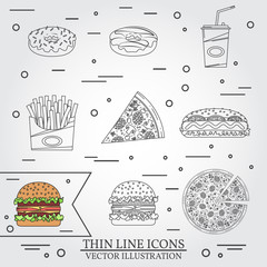 Vector thin line icon donuts, pizza, fries, soda, hot dog and hamburger . For web design and application interface, also useful for infographics. Vector illustration.