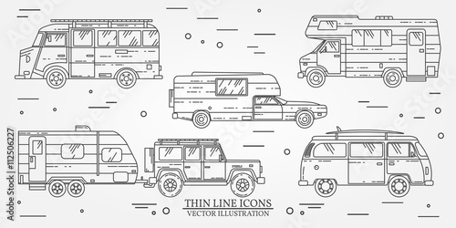 Set of Tourist bus, SUV, trailer, jeep, RV camper trailer