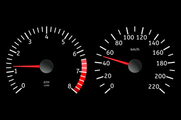 Speedometer, tachometer in motion
