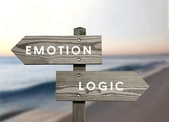 Emotion versus logic opposite direction sign