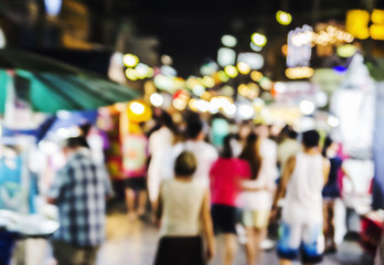 Abstract blurred background of Hua Hin night market in thailand
