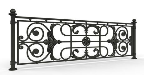 Wrought iron fence on white background. 3d render