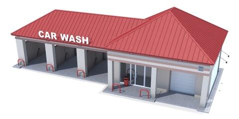 Car Wash on white background. 3D render