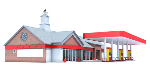 Red gas station isolated on white background. 3D render.