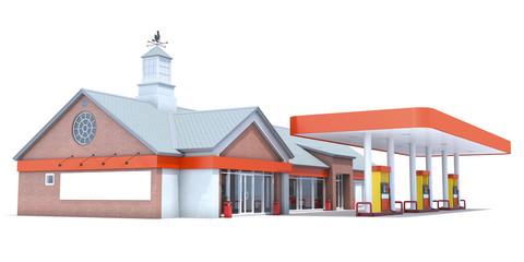 Orange station isolated on white background. 3D render.