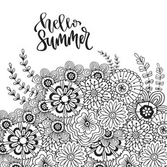 Vector abstract flowers for decoration. Adult coloring book page. Zentangle art for design. Hello summer hand drawn lettering