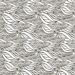 Vector pattern with abstract wave ornament. Adult coloring book page. Zentangle seamless design.