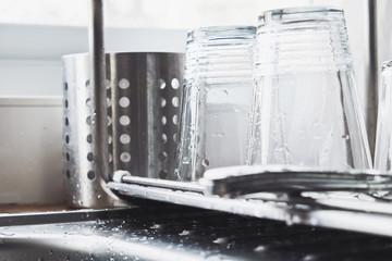 close up image of Washing dishes
