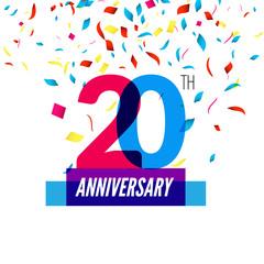 Anniversary design. 20th icon anniversary. Colorful overlapping design with colorful confetti