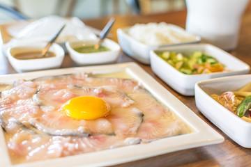 Asian dishes fondue fish delicious Thai food.