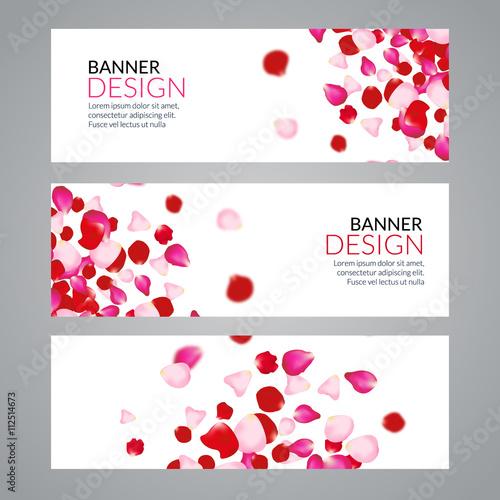 """Vector Rose Petals Wedding Love Banners. Invitation"