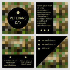 Set of brochure, poster templates in veterans day style