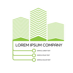 Creative logo with houses skyscrapers and connect line