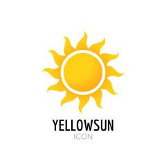 Sun icon sign. Icon or logo design with yellow sun