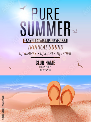 Tropic Summer Beach Party Tropic Summer Vacation And Travel Tropical Poster Colorful Background Island