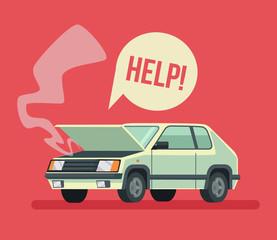 Broken car. Road accident. Car with open hood. Vector flat cartoon illustration