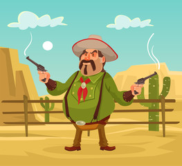 Mexican robber. Whild west. Vector flat cartoon illustration. Robber in desert