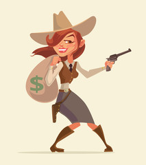 Cowgirl with pistol. Cowgirl thief. Western burglar girl hold money bag. Vector flat cartoon illustration