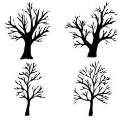 Vector illustration. Silhouettes of bare trees on a white background.
