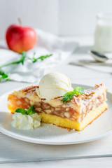 Homemade wanilla ice cream and apple pie made of fresh apples