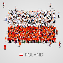 Large group of people in the Poland flag shape.