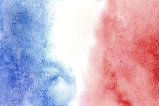 Colors of French flag in watercolor