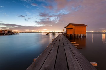 Wooden bridge Sunrise in Clan Jetty George Town, Penang Malaysia