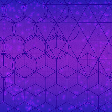 Sacred geometry symbols and elements background. Alchemy, religion, philosophy, astrology and spirituality themes. Sacred mesh with triangles, circle and square. Geometric religion sign.
