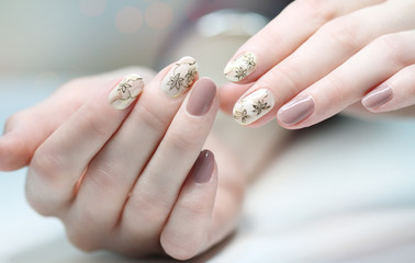 Nail Polish. Art Manicure. Colored Nail Polish. Beauty hands. Stylish Colorful Nails