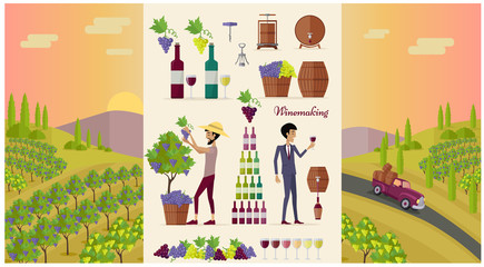 Winemaking Design Concept and Icon Set
