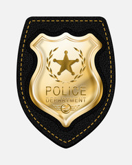 Realistic Vector Golden Police Badge Placed on Leather Backgroun