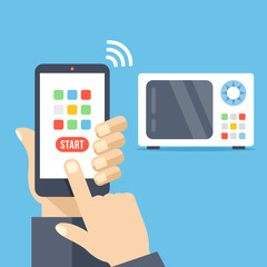 Smartphone remote control app. Microwave controlled via smartphone with wifi. Hand holds cellphone with buttons. Modern flat design vector illustration