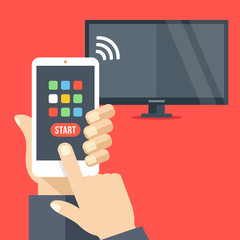 Tv set controlled via smartphone with wifi. Smartphone remote control app. Hand holds cellphone with buttons. Modern flat design vector illustration