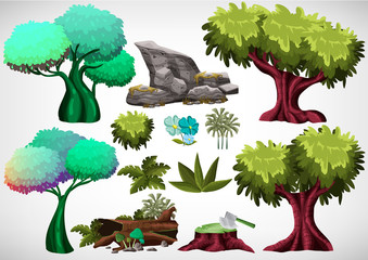 Set of cartoon colored tree for use in the game and animation, game design asset