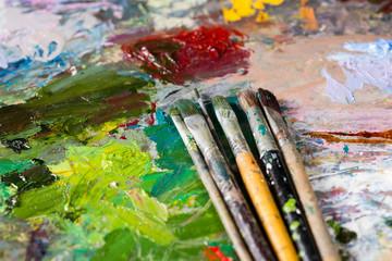 Close up of professional paintbrushes