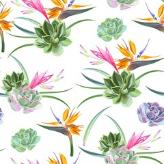 Exotic flowers and succulents seamless